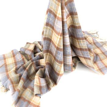 橘语新款纯羊毛条纹格子气质流行披肩围巾女春季