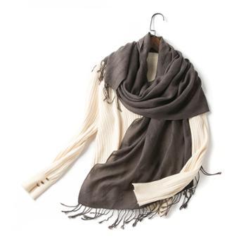 橘语新款纯羊毛褐色流行时尚披肩围巾女春季
