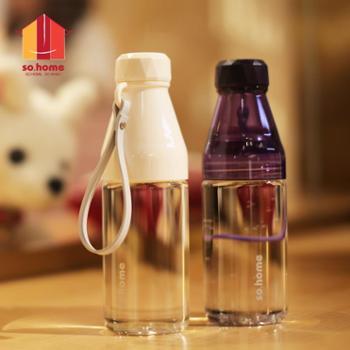 sohome耐热玻璃随手杯便携水杯创意潮流茶杯清新随身杯果汁杯