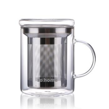 sohome耐热玻璃茶杯过滤杯个人杯玻璃水杯花茶杯办公杯400ml