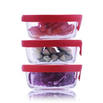 sohome维达硅胶盖耐热玻璃保鲜盒三件套饭盒餐盒储物盒玻璃碗
