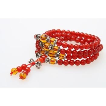 梵珠记玛瑙系列天然玛瑙开运苗银佛珠(108)念珠手链