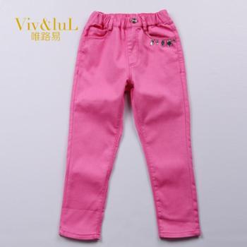 唯路易(Viv&luL)童装女童长裤纯棉 中大童儿童个性纯棉休闲长裤