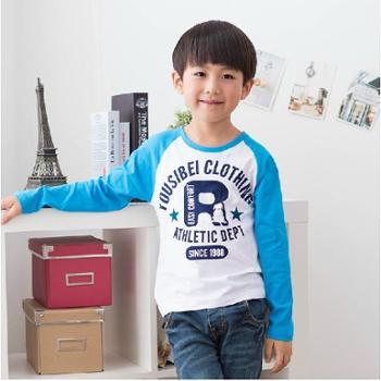 优乐小猪童装男童T恤长袖纯棉儿童宝宝2014春装新款R字母图案