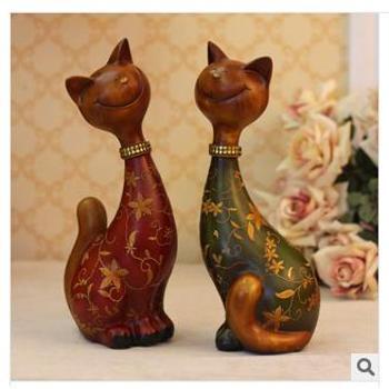 美屋家居欧式动物摆件 树脂工艺品 大脸猫情侣摆件 家居装饰礼品 BJ078