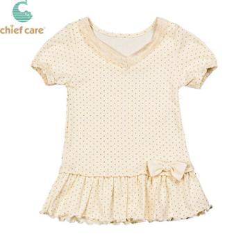 赫卡 夏季女小童连衣裙纯棉短袖婴幼儿衣服女宝宝裙子彩棉可爱上衣