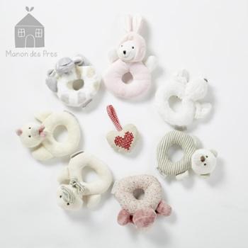 麦侬贝儿婴儿毛绒动物手摇铃宝宝磨牙胶手偶玩偶玩具鸭摇铃