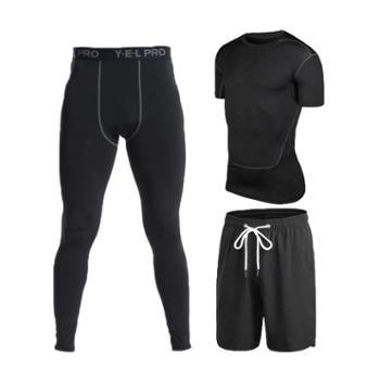 玉儿恋男紧身训练三件套短袖黑色运动套装排汗速干