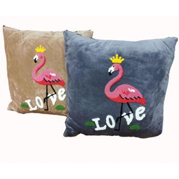英国雅迪娜家纺毛巾绣两用多功能靠枕枕头靠垫被汽车小被子空调被午睡枕一只喜莱雅