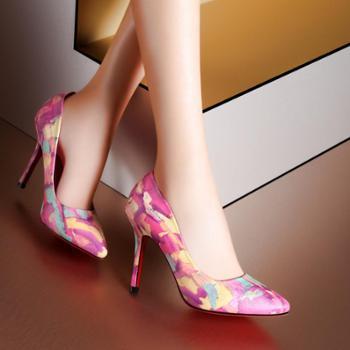 两色包邮!莫蕾蔻蕾正品优雅性感时尚潮流花纹尖头细跟女士单鞋