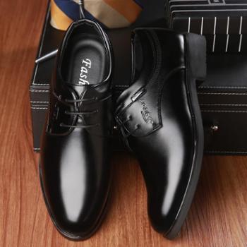 耶斯爱度男鞋休闲鞋正装皮鞋男士系带圆头商务休闲(金钟9319)