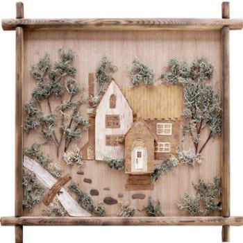 桦树制品--山村拼画