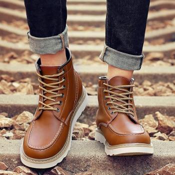 古松鸟秋冬季真皮潮流马丁靴男英伦风短靴男士皮鞋英伦高帮鞋工装靴男