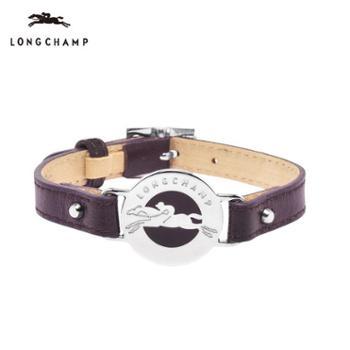 LONGCHAMP珑骧女式经典金属标志小羊皮手环手镯5448浆果紫