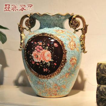 欧式宫廷陶瓷双耳花瓶 彩绘时尚花器花瓶居家装饰工艺品摆件