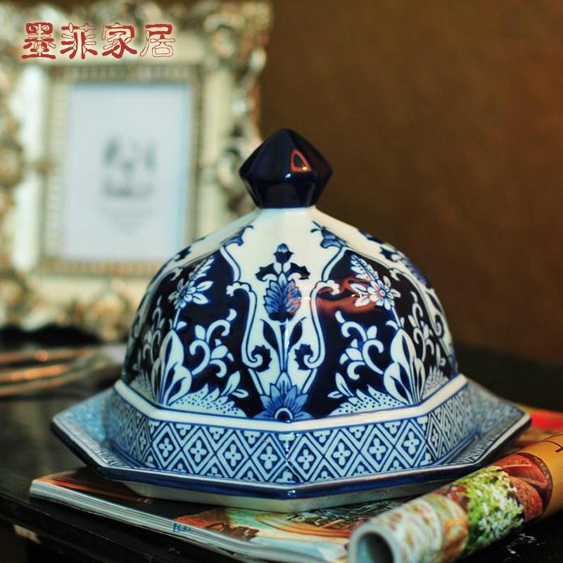 欧式宫廷现代家居装饰摆件摆设手绘青花瓷