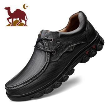 骆驼男鞋2019款商务软底休闲鞋子牛皮轻便高弹系带皮鞋男士皮鞋