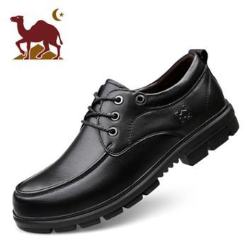 骆驼男鞋冬季商务休闲鞋男复古真皮套脚皮鞋男士软底鞋子 棉鞋 头层皮