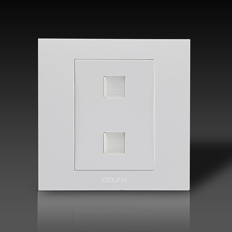 gelan开关插座面板g3-523系列电话电脑插座(白色)