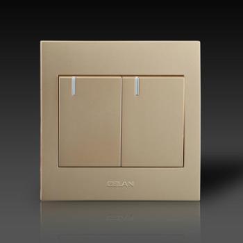 gelan开关 插座 面板G3-112二开单控开关16A 250V金色