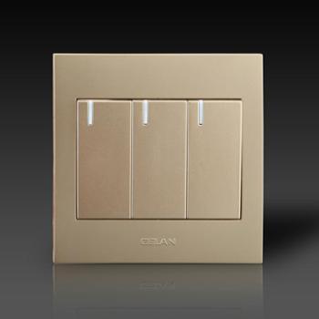 gelan开关 插座 面板G3-113三开单控开关16A 250V金色