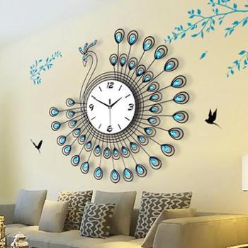 孔雀钟表挂钟客厅大创意时钟现代简约石英钟欧式个性夜光静音挂表