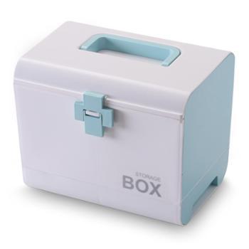 三清花手提多层药箱家用大容量保健箱便携式收纳箱抽屉医药箱
