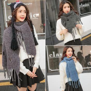 情侣围巾冬季男女一对学生韩版百搭情侣款简约针织毛线围脖年轻人