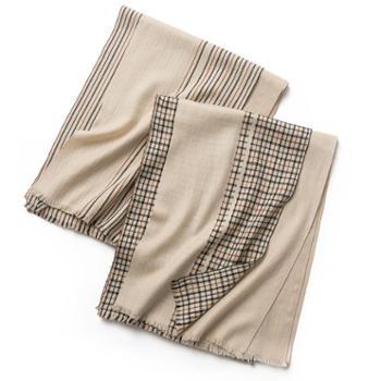 凯米尔酷羊毛围巾条纹韩版薄款超长秋冬女新款2018格子时尚百搭SWR0512