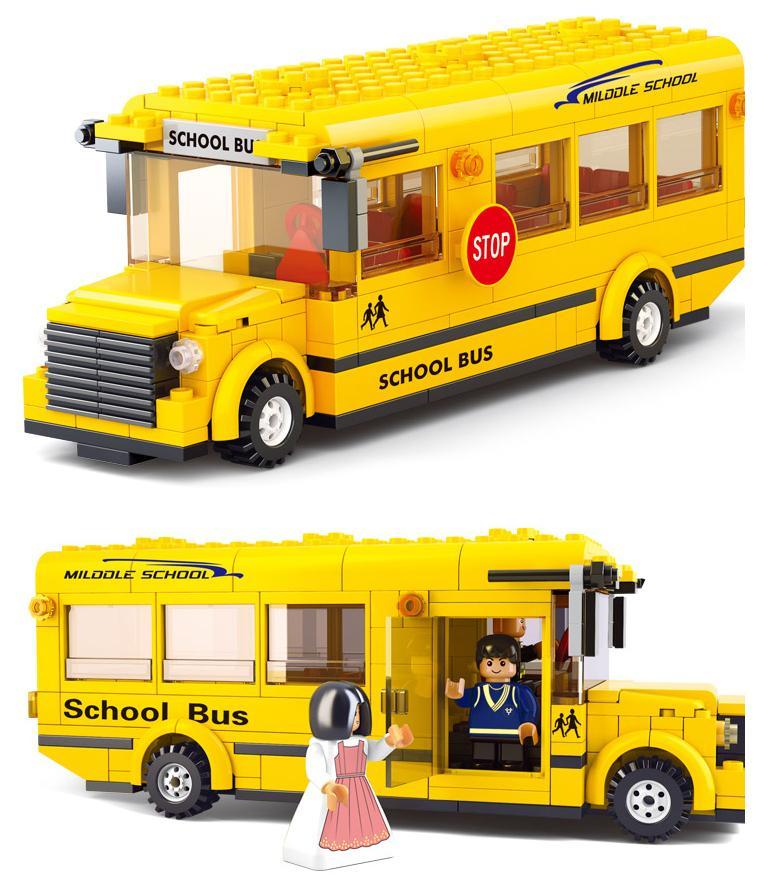 小鲁班 乐高式益智拼插积木 城市巴士-校园巴士 益智玩具拼装积木