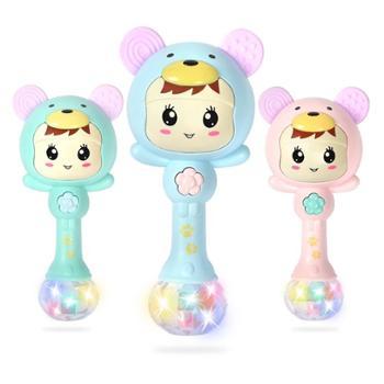 活石玩具婴儿玩具0-1岁手摇铃音乐节奏棒新生儿童宝宝3-6-12个月益智506三种色可选