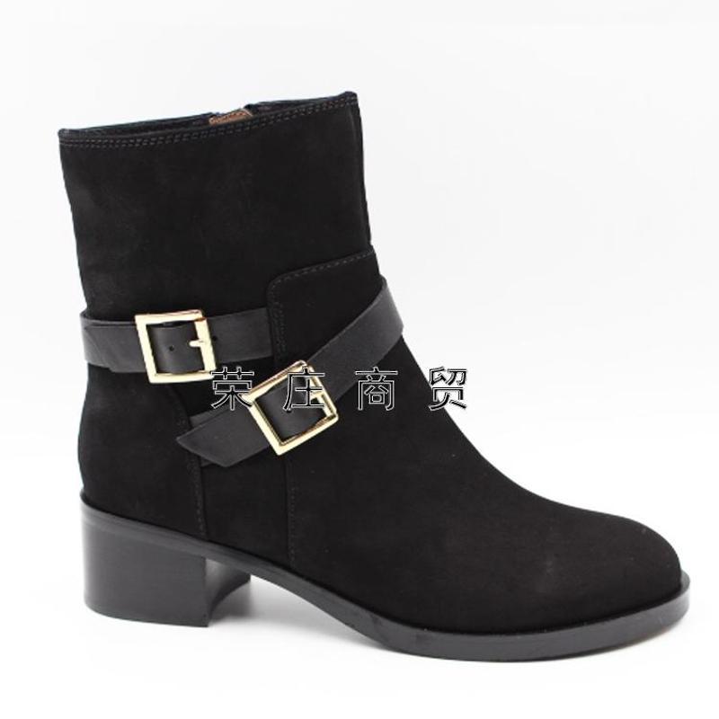 专柜正品哈森/harson2015新款女鞋欧美牛皮金属中跟冬短靴ha51901图片