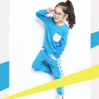 追源儿童运动套装小孩衣服5-6-7-8-9-10-11-12-13岁女童2015新款