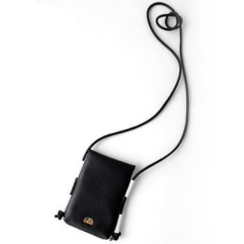 缇香原创头层牛皮黑白撞色单肩斜跨信封包手机包