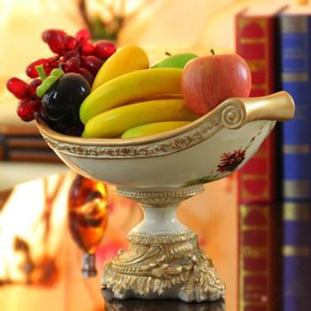 尚凡家居饰品摆件客厅餐厅别墅高档装饰创意欧式宫廷卷轴大水果盘