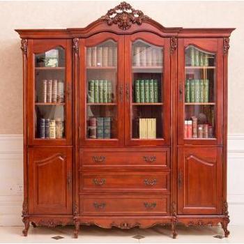 富华家园-桃花芯木手工雕刻欧式多储藏空间书柜