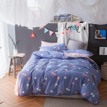 罗莱雅 小城清新文艺风全棉四件套 适合1.5-1.8米床 四季用床品