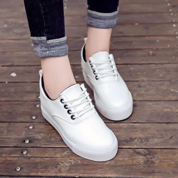 乔驰 新款韩版松糕鞋内增高学生小白鞋潮女百搭时尚帆布鞋 休闲鞋