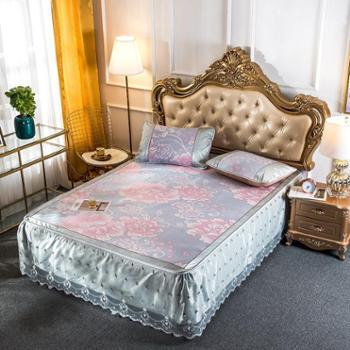 罗莱雅雅韵可拆洗蕾丝床裙提花冰丝席三件套空调席凉席子