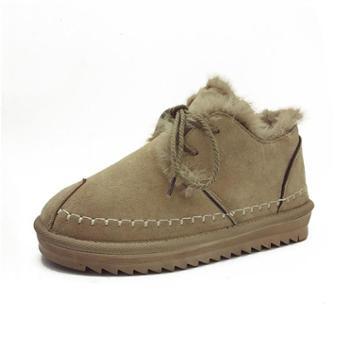弗卡伦新款棉靴女皮毛一体绒面平底牛油果绿色保暖防滑系带雪地靴