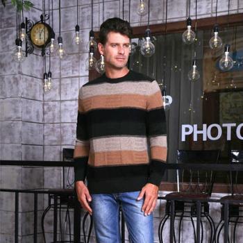 戎立特 羊绒衫男装彩条纹新款圆领 羊毛衫套头时尚加厚