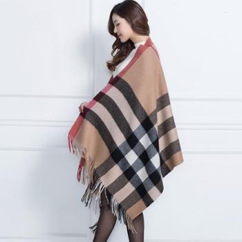 戎立特2016秋冬新款羊绒羊毛混纺时尚披肩DWJ1051L