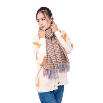 戎立特女士羊绒菱形格围巾披肩GWJ311