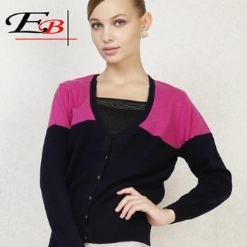 鄂尔贝加品牌正品短款妈妈装V领羊绒衫开衫女纯羊绒毛衣外套特价