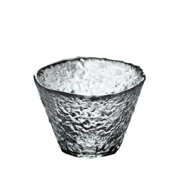 谁美手工玻璃杯品茗斗笠杯锤纹耐热茶杯日式茶道透明中杯子