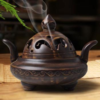 陶瓷紫砂香炉佛具仿古三足鼎香薰炉沉檀香塔香座居室盘香熏香炉