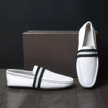 欧美男士真皮豆豆鞋白色休闲男鞋皮鞋英伦潮流单鞋