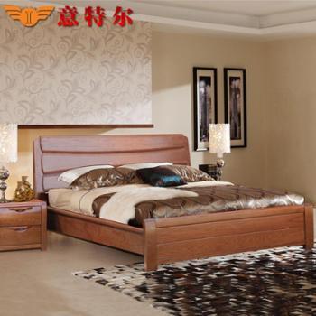 厂家直销意特尔新品美国红橡木全实木橡木床1.8米双人床大床婚床