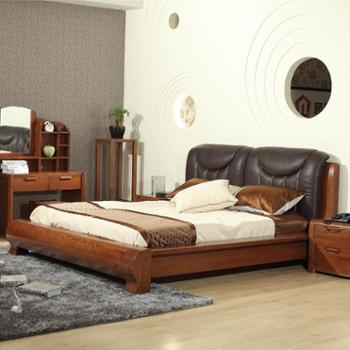 意特尔美国红橡木系列全实木床现代简约大气带软靠头层牛皮双人床