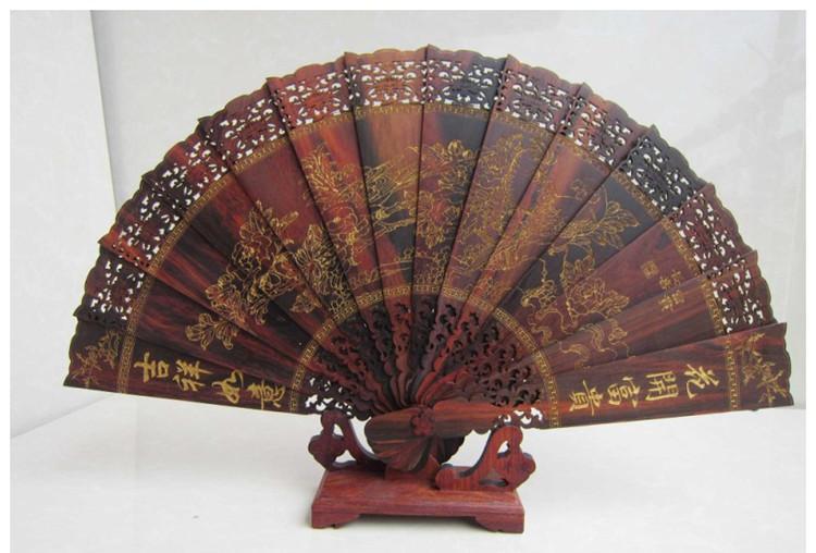 红酸枝木雕摆件烫金题字沁园春雪仿古折扇工艺扇子
